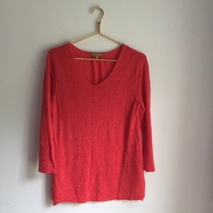 Ellen Tracy coral summer sweater top